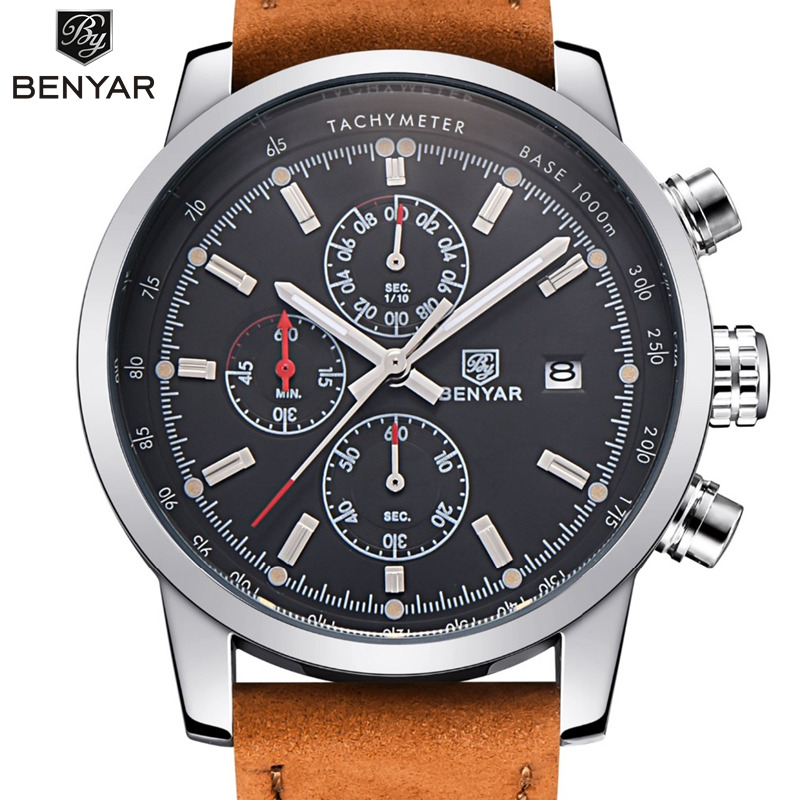 Benyar moda cronógrafo mens relojes Top marca de lujo reloj de cuarzo reloj hombre 2017 reloj masculino Relogio Masculino