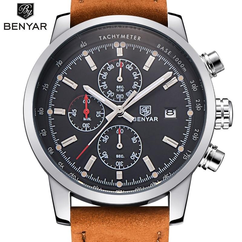 Benyar модные Хронограф Спортивные мужские Часы лучший бренд класса люкс кварцевые часы Reloj Hombre 2017 часы мужской час Relogio Masculino