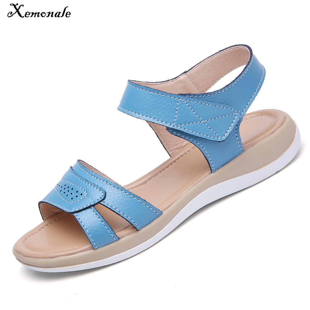 57264c3377 leather flat strap casual sandals sandals beach toe shoes T Gladiator  Xemonale open Summer genuine women ...