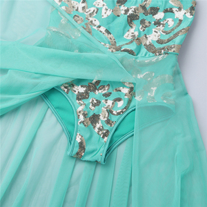 Image 5 - Girls Elegant Maxi Dress Lyrical Dance Costumes Modern Ballet Dance Dress Skating Gymnastics Leotard Stage Wear
