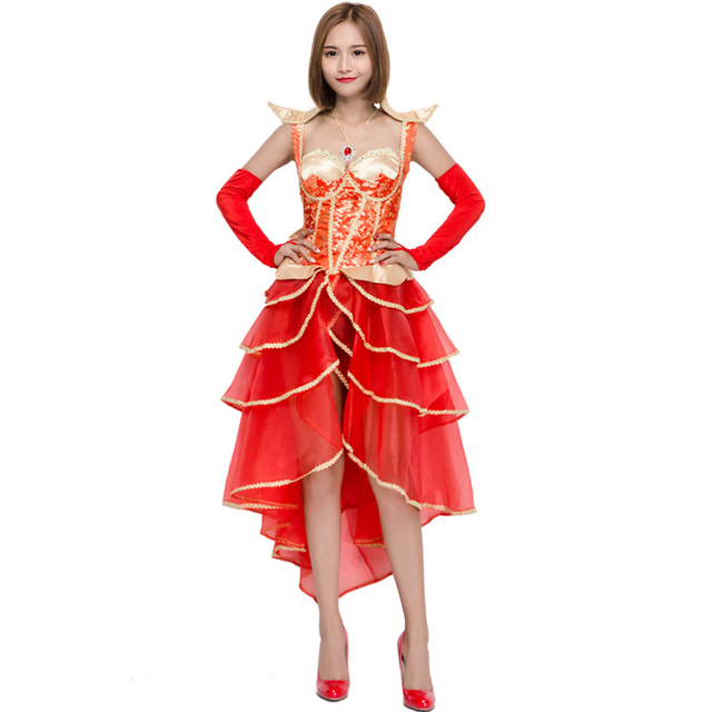 b0f7ab3a56ed Wedding Costume Red Dress Cake Dress Europe Retro Court Bride Dance  Halloween Queen Costume Sexy Female Clothings L18817135