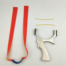 New 1Set High Quality Stainless Steel Slingshot personality Flat Rubber Bands For Outdoors Hunting Shooting Accept customization