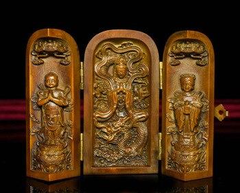 wedding decoration Chinese Boxwood Wood Carving Dragon TongZi GuanYin Kwan-yin Buddha Statue Box