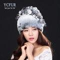 YCFUR Женщины Меховые Шапки Зимние Вязать Подлинная Рекс Кролика Silver Fox Меховой Шапочки Skullies Шляпы Для Женщин Эластичный Свободный размер
