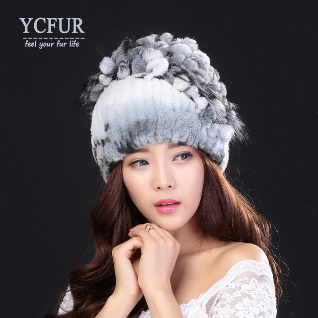 YCFUR Women Fur Caps Winter Knit Genuine Rex Rabbit Fur Skullies Silver Fox Fur Beanies Hats For Female Elastic Free size
