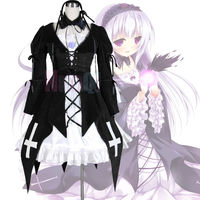 Rozen Maiden Suigintou Mercury Lampe Gothic Lolita Black Dress Cosplay Costume Dress Headband Neckband Purple Flower