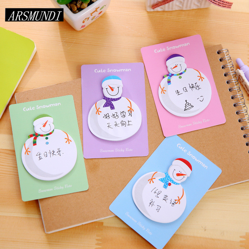 Kawaii Snowman Memo Pad Planner Stickers Sticky Notes Post it Notepad For Office Cute Stationery Papeleria School Supplies