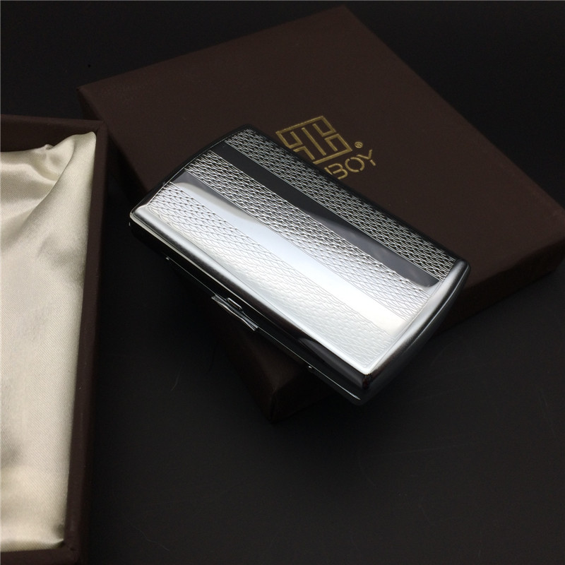 KC7-06 Stainless Steel Embossing Process Cigarette Case Male Metal Cigarette Storage Bin Boxes For 12 Normal Cigarettes