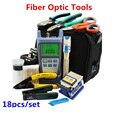 18 unids/set herramientas de fibra óptica con FC-6S cuchilla de la fibra y medidor de potencia óptica y localizador Visual de fallos y Strippers