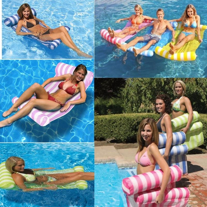3 Color Stripe Floating Sleeping Bed Water Pool Float Lounger Chair Float Inflatable Mattress Swimming Pool Accessories