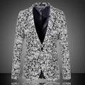Más el tamaño M-6XL hombres moda de primavera de lana jacquard informal traje gris de la etapa DJ cantante chaqueta delgada hombres chaqueta de la ropa