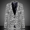 Plus size M-6XL homens da moda primavera de lã jacquard casuais terno cinza masculino cantor DJ stage blazer magro jaqueta roupas dos homens