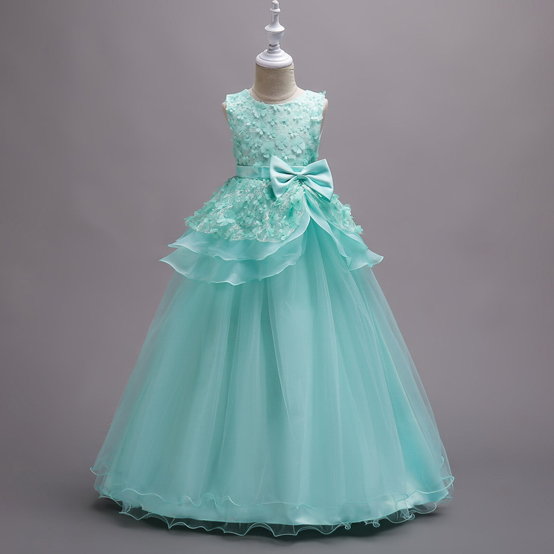 Princess Dress For Girls European And American Flowers Long