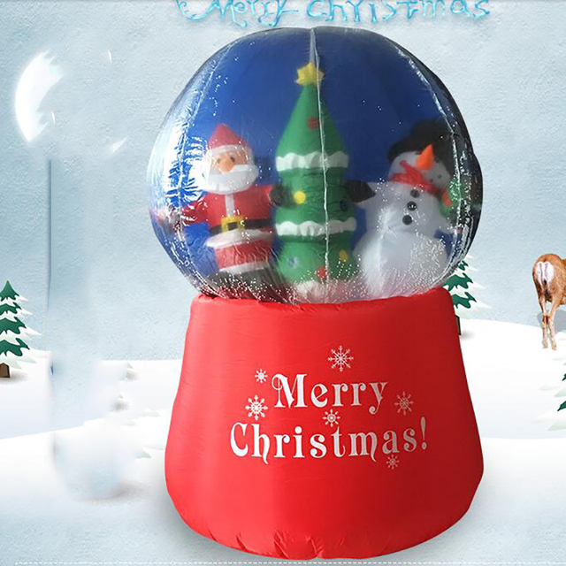 giant inflatable snow globe with santa claus crystal transparent inflatable christmas globe ball outdoor supermarket decorations