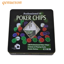 New High quality Casino chips Texas Poker 100 game tokens square box plastic poker 1/5/10/25 four par qenueson