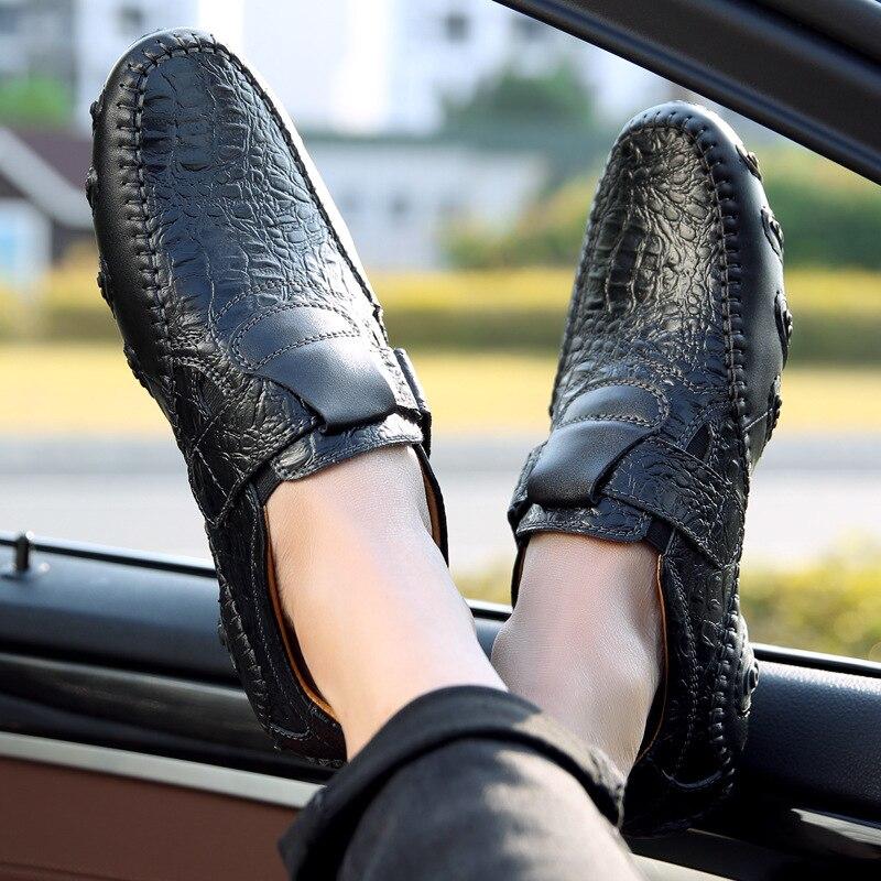 Automne Chaude Anti Noir Cuir Boucle Noir Poulpe Mode Couture kaki Chaussures Appartements De Mâle Pu Grande Taille Printemps Slip Hommes Conduite En Casual AqqwS5R