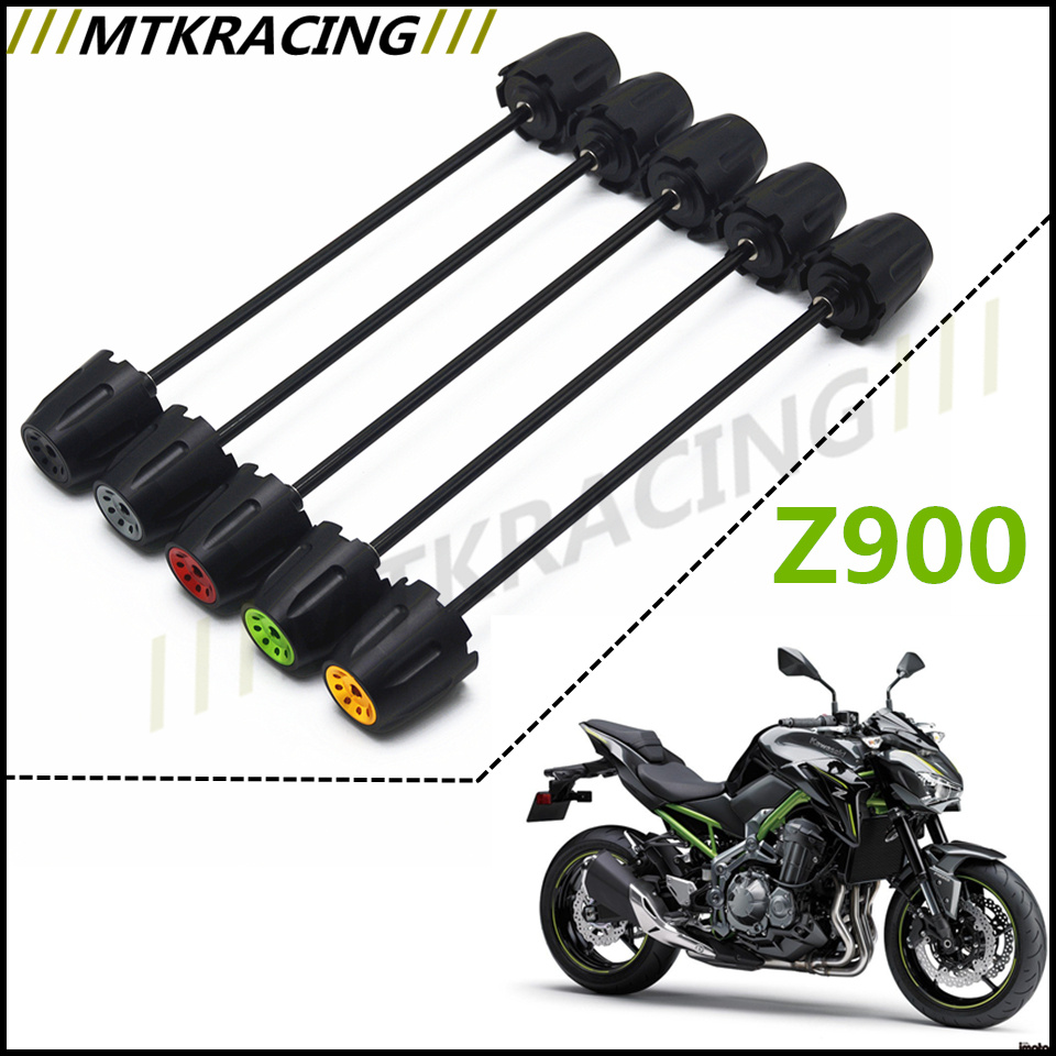 Free shipping For Kawasaki Z900 Z1000 2017 CNC Modified Motorcycle Front and rear wheels drop ball / shock absorber Green