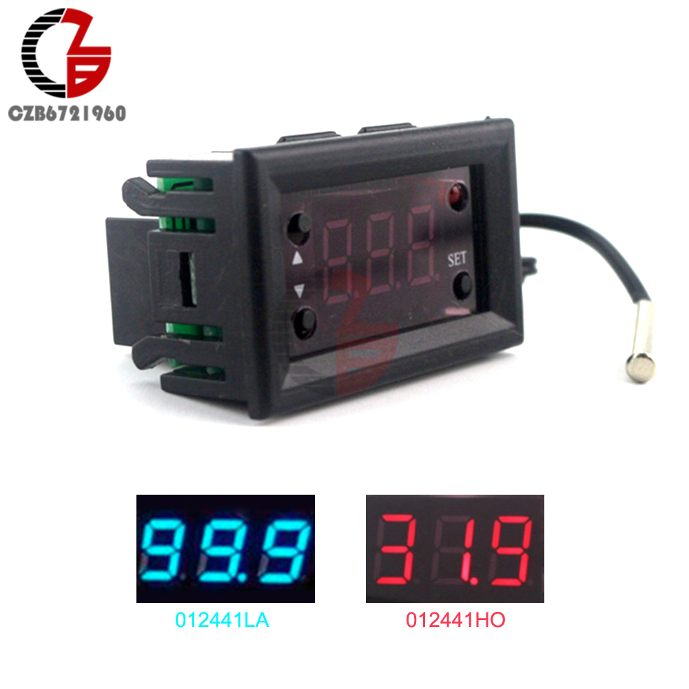W1218 DC 12V LED Digital Thermostat Temperature Controller Regulator Thermometer Monitor Red Blue Display for Incubator hf 0 56 red lcd 2 0 4 digital thermostat temperature controller dark blue black 24v