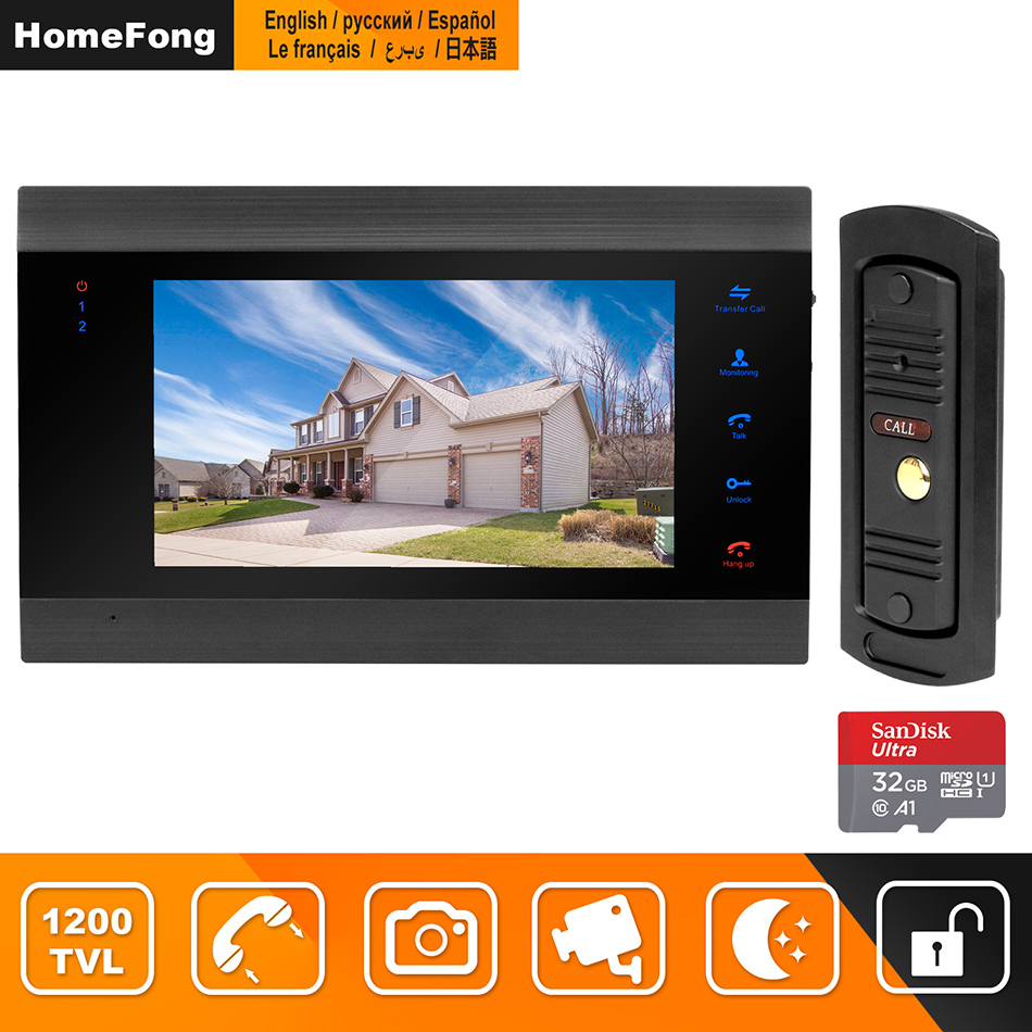 HomeFong Door Intercom Video Door Phone Video Intercom for Home 7 inch HD Monitor 1200TVL Doorbell