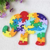 New Wooden Toy Animal Cartoon Color 26 Piece English Letters And Digital Cognitive Animal Wooden Jigsaw