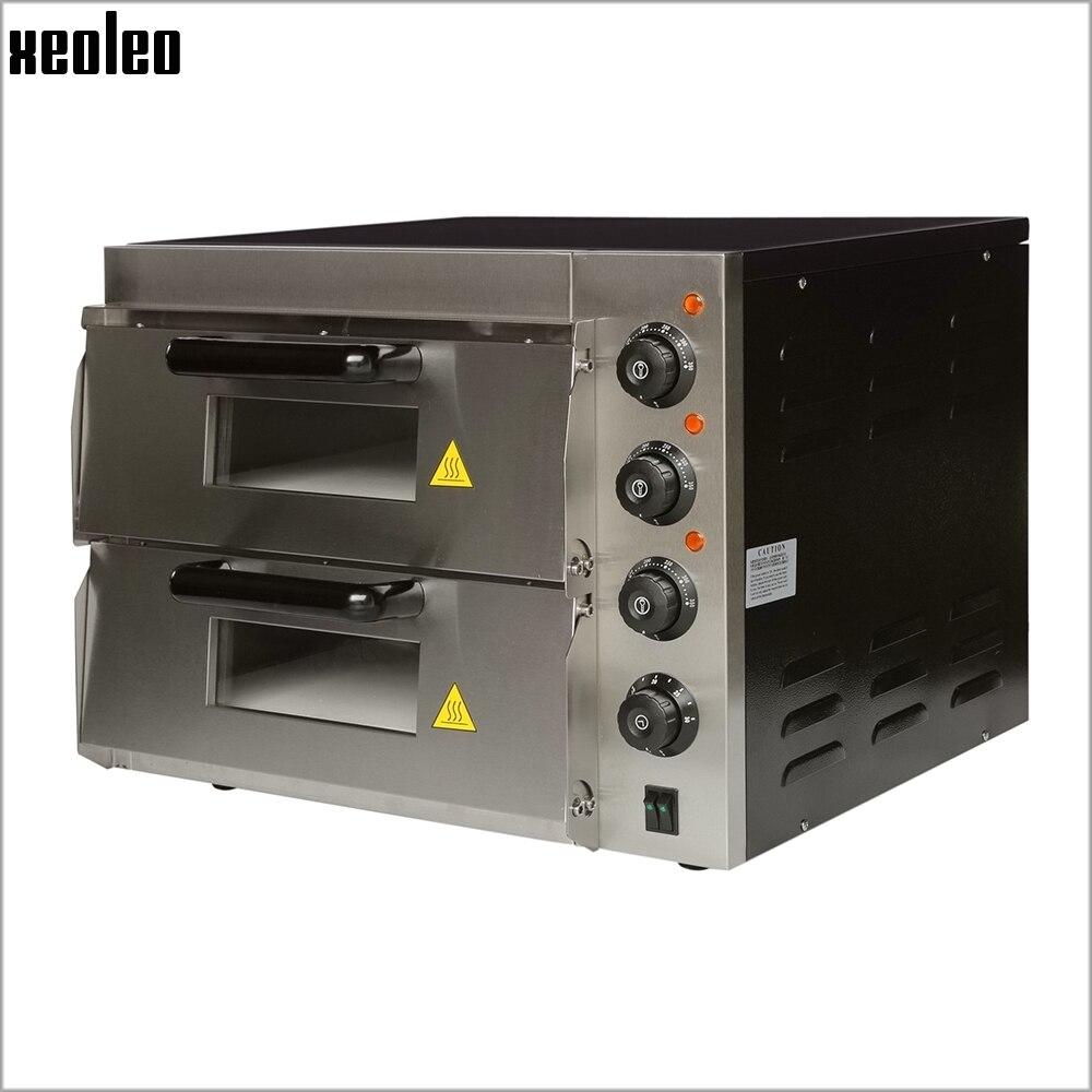 XEOLEO Коммерческих Электрическая печь для пиццы двойной слой 16 дюймов пиццы машины 3000 Вт печь для выпечки Max 350 градусов по горизонтали печь