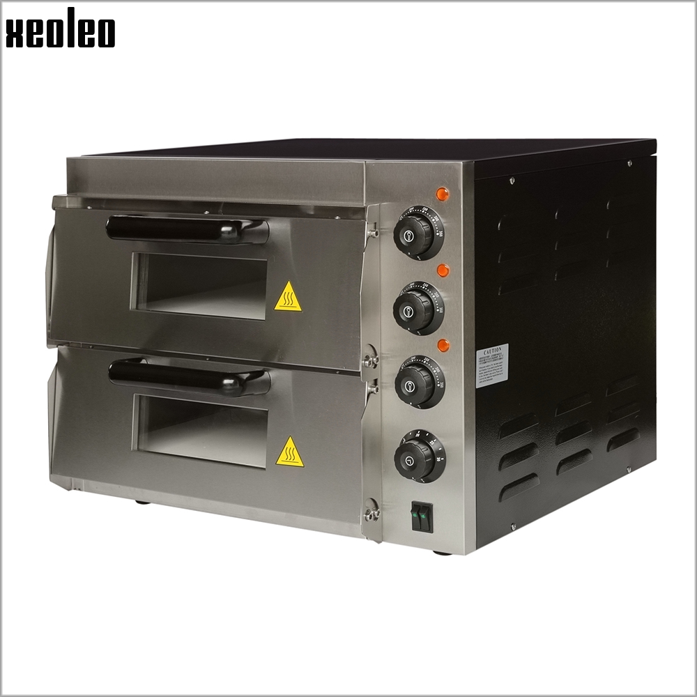XEOLEO Commercial Electric Pizza oven Double layer 16 inch Pizza Baking machine 3000W Baking oven Max 350 degree Horizontal Oven
