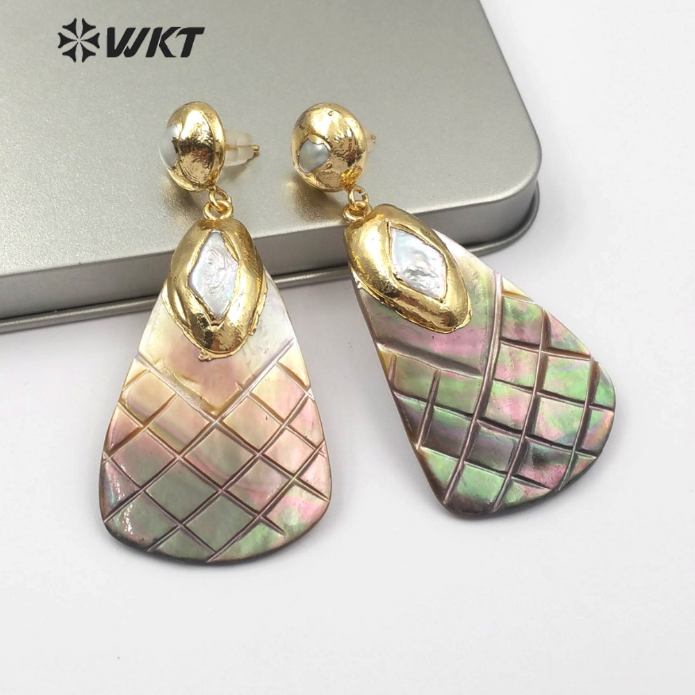 WT E501 Bohemian Style Natural Pearl With Metal plated Matching Line Stripe Shell Drop Earrings Women