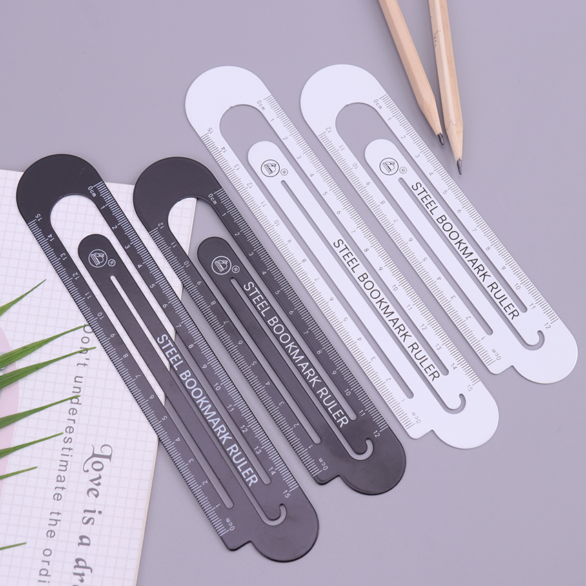 1PC High Quality 12cm Metal Steel Ruler Bookmark School Student Drawing Supplies Small Fresh Steel Rule Bookmark