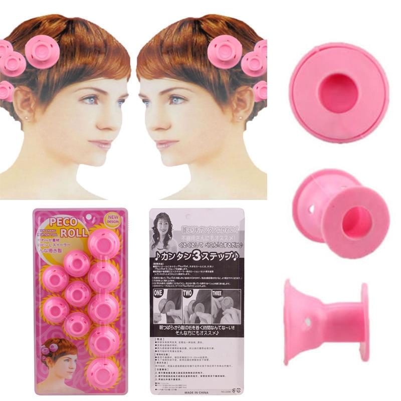 10pcs Soft Rubber Hair Curler Diy Diy Hair Styling Roller