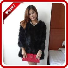 real 2013 raccoon fur wool three quarter sleeve fur women's medium-long outerwear