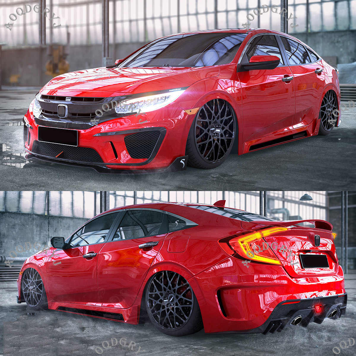 Unpainted Factory style Front and rear bumper conversion kit For Honda 10th Gen Civic FC1 4DR SEDAN 2016-2018 Car styling