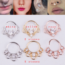 Sellsets 2018 New 1piece 2 & 5 stones rose gold color hollow out flower cz daith earrings nose piercing ring