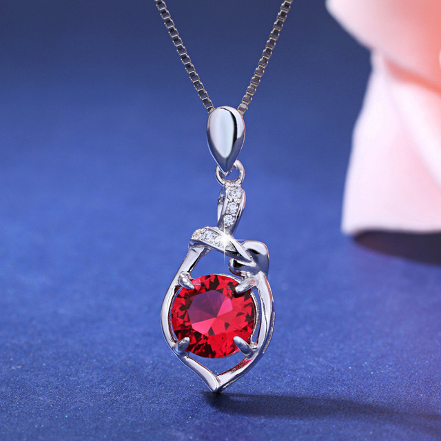 Fine Jewelry Womens Red Ruby Sterling Silver Pendant Necklace Ly4fwCC