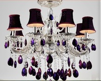 Free Shipping Selling European Modern Purple Crystal Pendant Lamp Ceiling Lamp Chandelier Dining Room Lighting Shdes Included