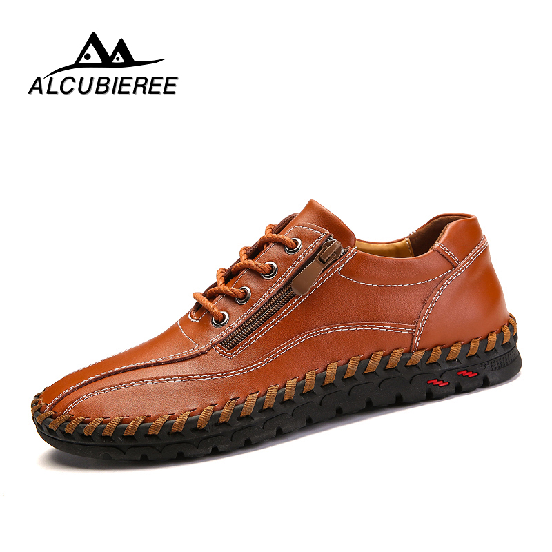 цены на 2018 Fashion Comfortable Casual Shoes Loafers Men Shoes Quality Split Genuine Leather Shoes Men Flats Hot Sale