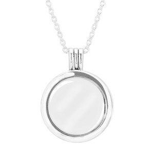 Image 1 - Authentische 925 Sterling Silber Große Schwimmende Medaillon Anhänger Halskette für Frauen Edlen Schmuck 75cm Kette Einstellbar