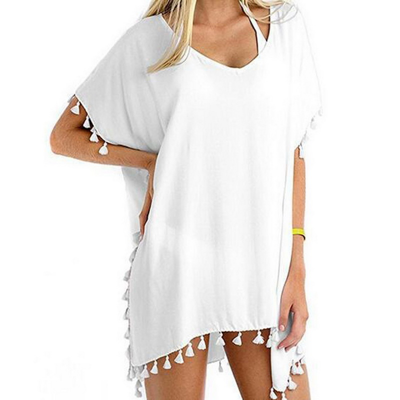 Summer Beach Dress Women Tassel Fringed Loose V-Neck Dresses Female Solid Robes Short Sleeve Sundress Tunic 2018 Sun Block Shawl