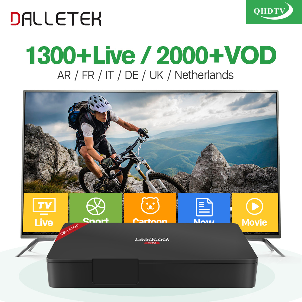 Super Fast Leadcool Pro Android 6.0 TV Box S905X 2/16GB 1300+ QHDTV Code IPTV Subscription Europe Arabic Italia French IPTV Box