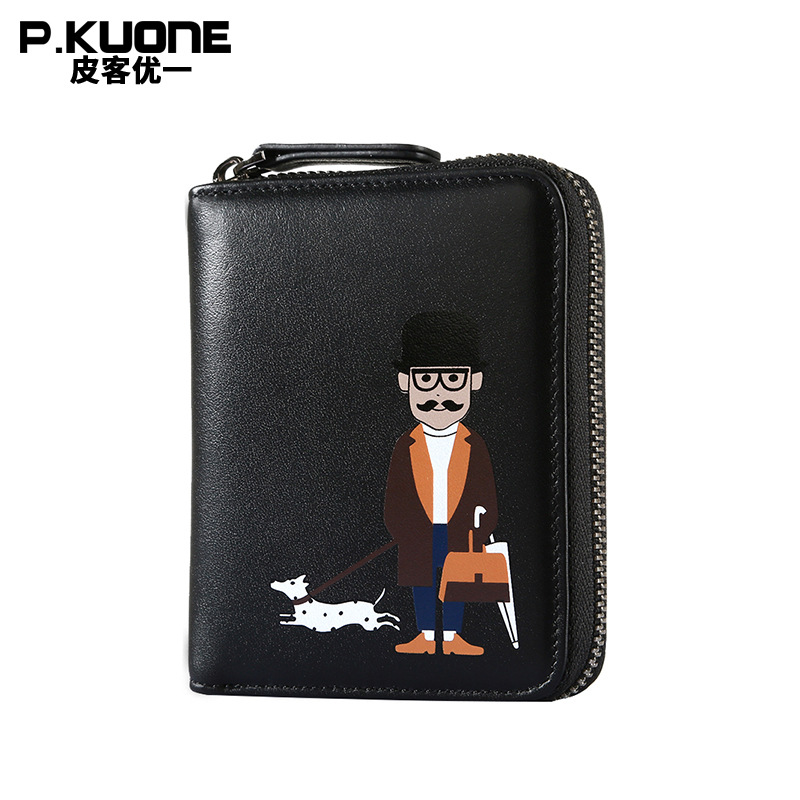 P.KUONE Fashion Clutch Bag Long Wallet Brand Men Short Zipper Genuine Leather Wallet Fashion Male Wallet Card Holder Coin Purse
