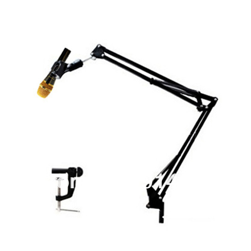 Desk Mic Stand Rotational Professional Recording Microphone Stands Desk Holder for Karaoke MIC Suspension Scissor Arm stand Black Free