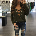 GZDL Autumn Women Top Casual Lace-Up Tie Plunge V Neck Fashion Stylish Long Sleeve Solid Sexy Blouses Burgundy Army Green CL3450