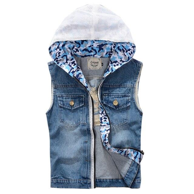 2017 Spring & Summer New Brand Men Jean Vest Hoodies Men's Jeans Waistcoat Denim Jeans Ves Motorcycle For Men Vest 2XL,PA080