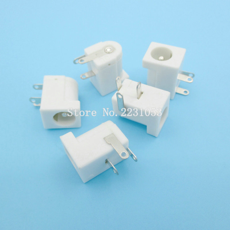 10PCS/LOT  DC-005 White DC Power Jack Socket Connector DC005 5.5*2.1mm 2.1 Socket Round The Needle