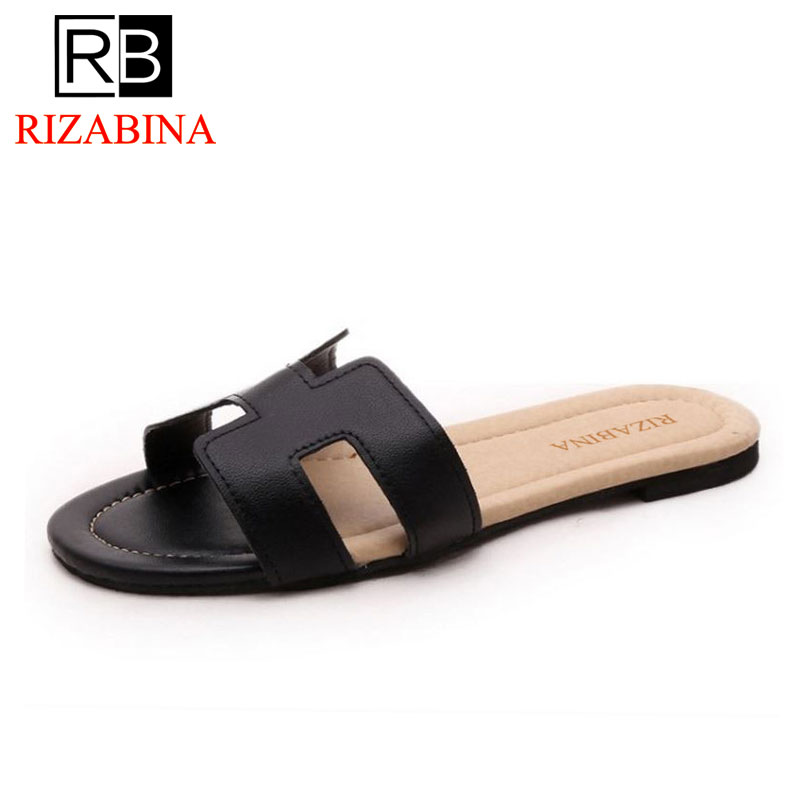 RizaBina Lady Flat Sandals Brand Female Shoes Women Gladiator Sandals Slippers Shoes Flip Flops Ladies Footwear Size35-40 W0142 rizabina concise women sneakers lady white shoes female butterfly cross strap flats shoes embroidery women footwear size 36 40