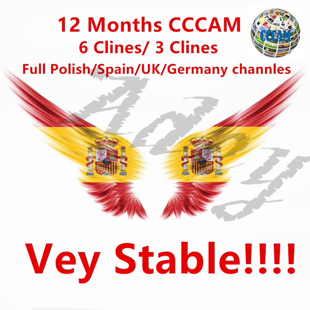 1 Year Europe Cccams 3 Clines Server For Spain Portugal Germany Poland Italy support DVB-S2 Receptor Satelite TV Receiver