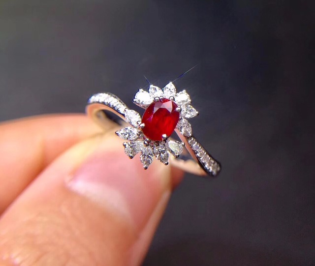 Fine Jewelry Pure 18 K White Gold Real Natural Pigeon Blood Red Ruby 0.55ct Diamonds Female's Rings for Women's Fine Rings