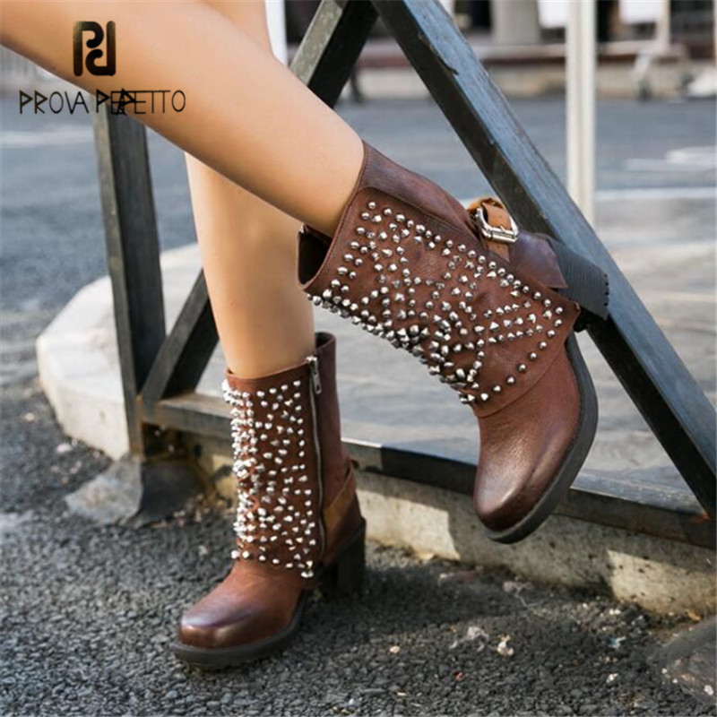 Prova Perfetto Fashion Rivets Studded Women Ankle Boots Autumn Winter High Heel Shoes Woman Platform Rubber Botas Militares prova perfetto yellow women mid calf boots fashion rivets studded riding boots lace up flat shoes woman platform botas militares