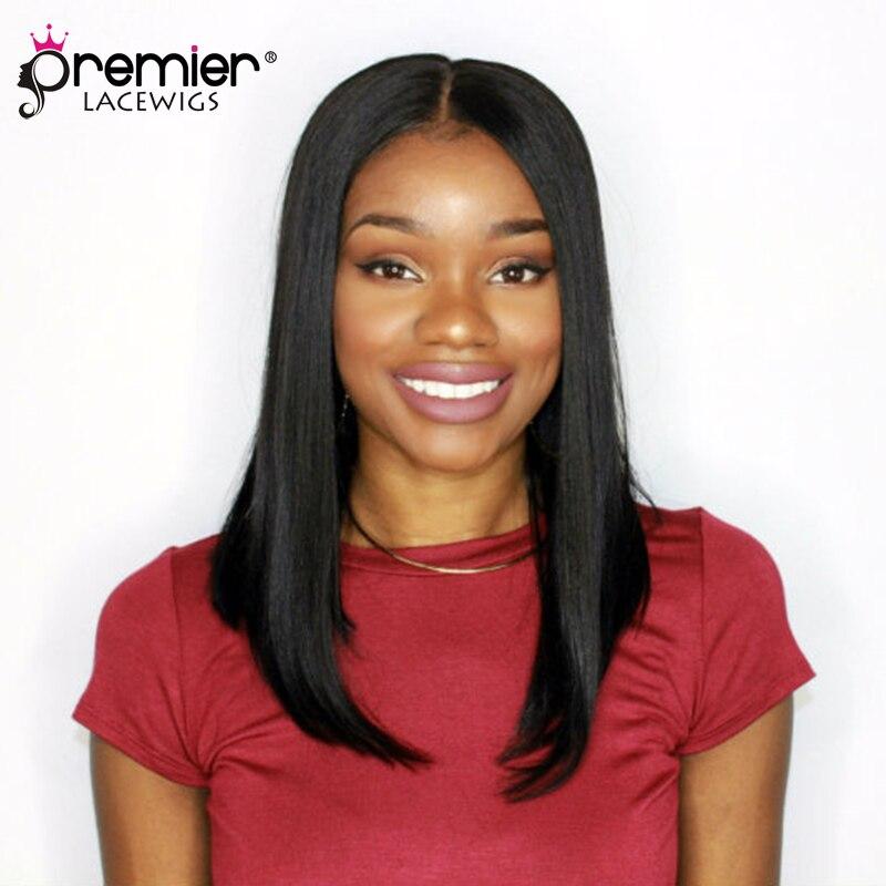 PREMIER Affordable Lace Part Wigs Middle Part Bob Indian Remy Hair Yaki Straight [LP05]