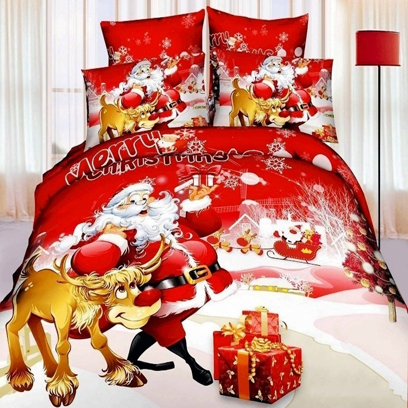 Lovely Christmas Bed Linen Sets Part - 9: Christmas Bedding Set Santa Claus 3d Bedding-set King Size Doona Duvet  Covers Quilts Comforter ...