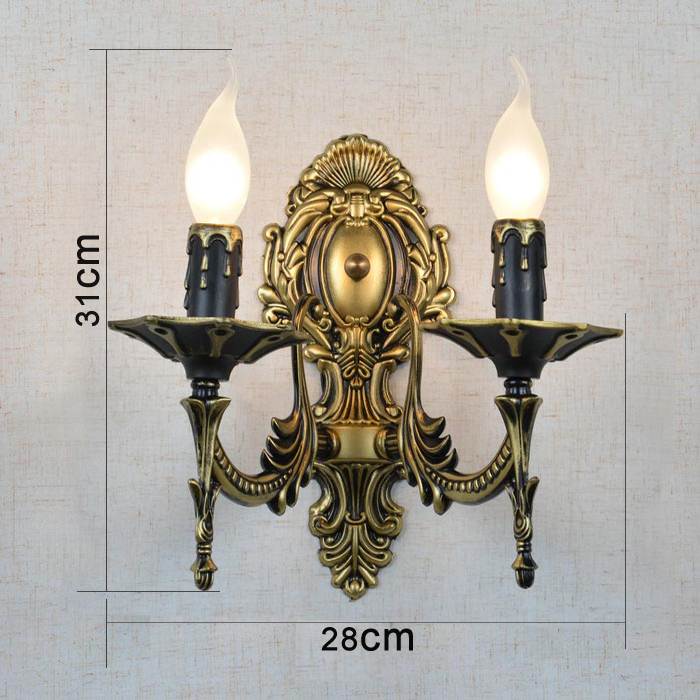 cheap Easy to clean 2 Arms candle wall lamps Iron vintage Hallway wall lamp Pull tail LED bulb Dining Room wall sconce Bathroom pic,image LED lamps offers